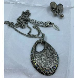 Coldwater Creek Necklace Clip Earring Set silver